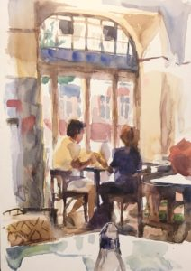 Daria Rhein watercolor at Cafe Bilderbuch Sept 2016 cu