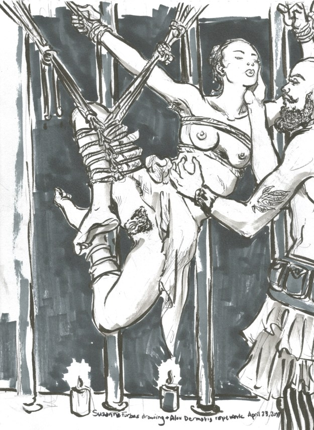 A rope suspension at KitKat by Alex Dermatis Drawn by Suzanne Forbes April 23 2017