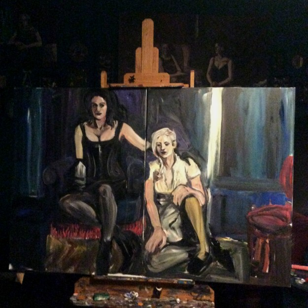 WIP portrait of Sadie Lune and Jo Pollux by Suzanne Forbes Sept 24 2017