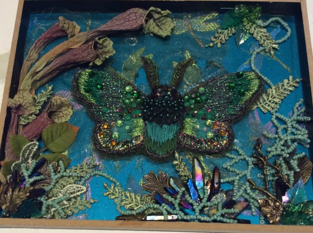 Embroidered insect in shadowbox by Suzanne Forbes Oct 2017Embroidered insect in shadowbox by Suzanne Forbes Oct 2017