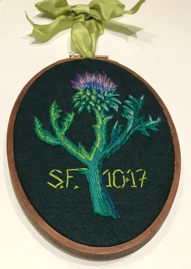 Scottish thistle embroidery by Suzanne Forbes Oct 2017