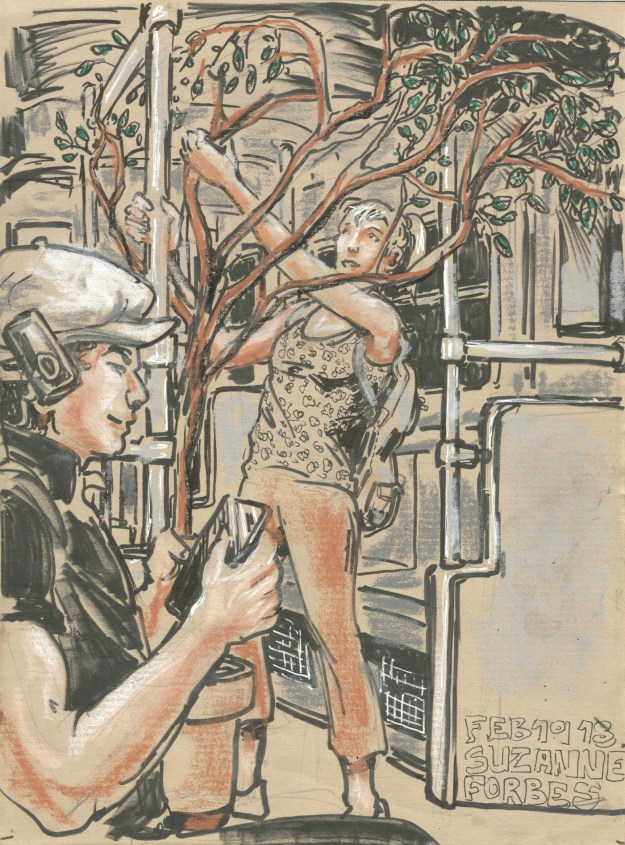 Woman with tree in U Bahn by Suzanne Forbes February 20 2018