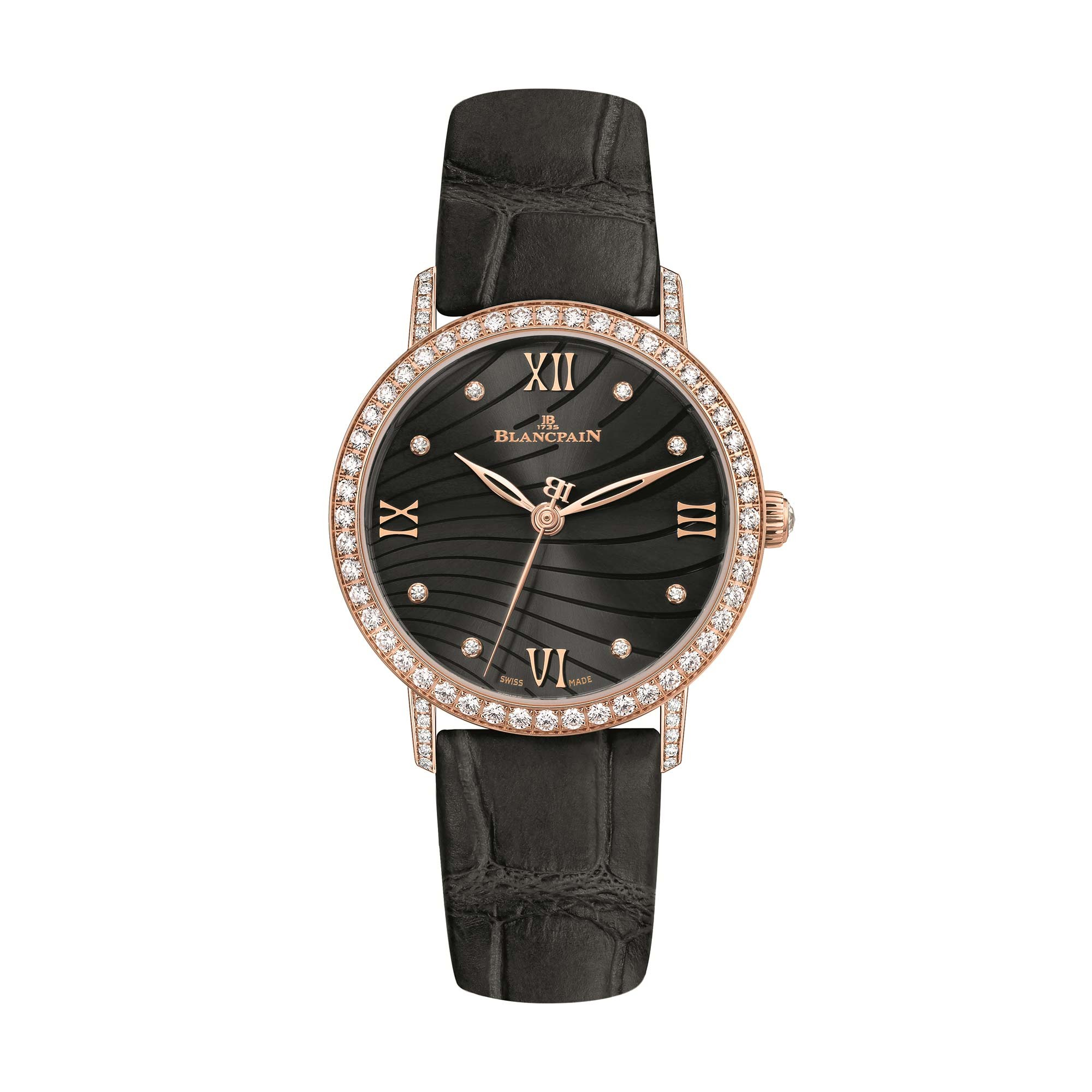 Leather Strap Rose Gold Watch Blancpain Villeret Ultra Slim Diamond Bezel 18ct Rose Gold Watch