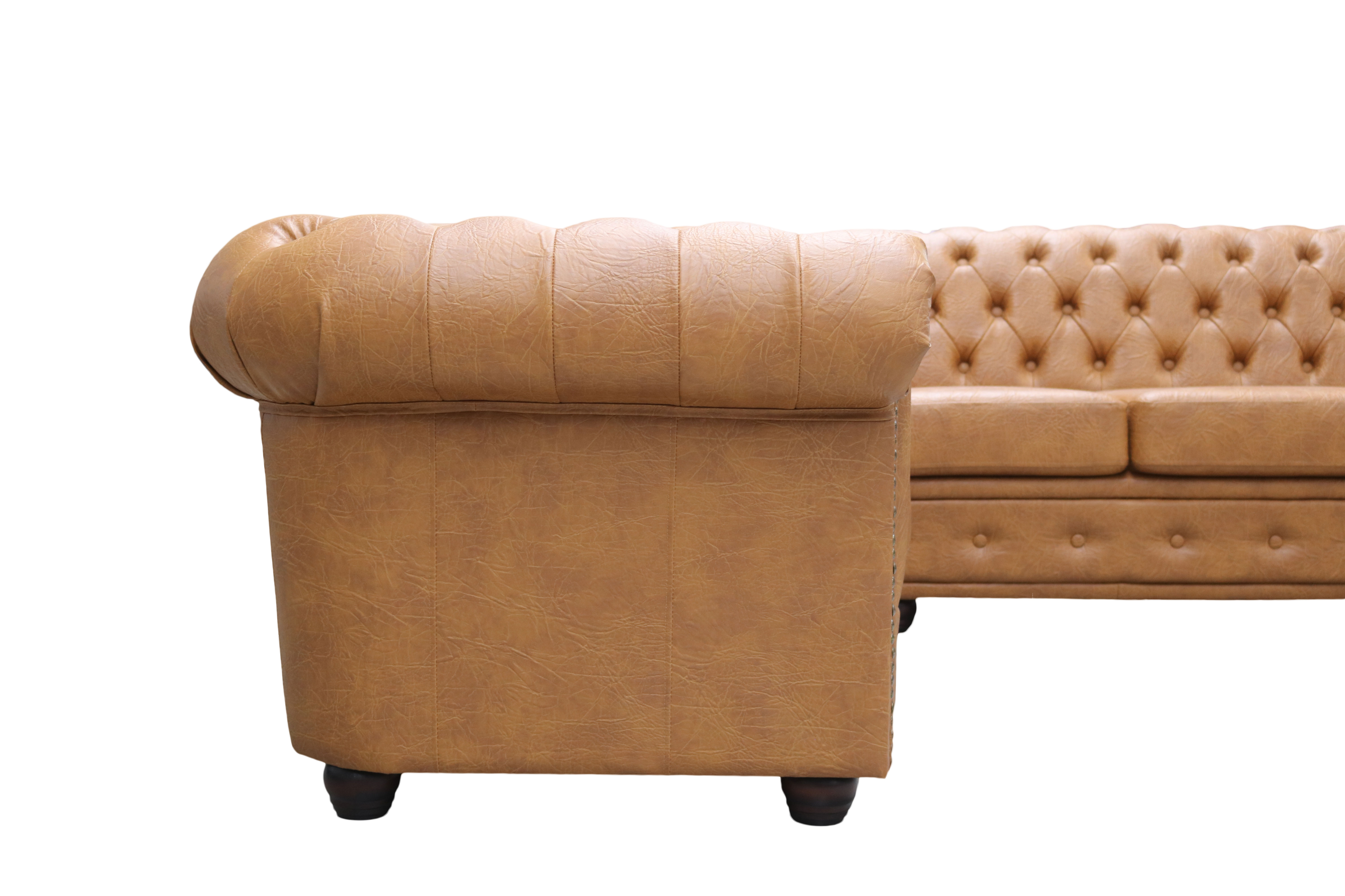 Chesterfield Sofa Und Hocker Ecksofa Chesterfield Bettfunktion 3sitzer Hocker Cognac L