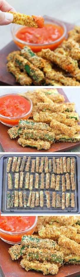 CRISPY HEALTHY BAKED ZUCCHINI FRIES - With a crispy