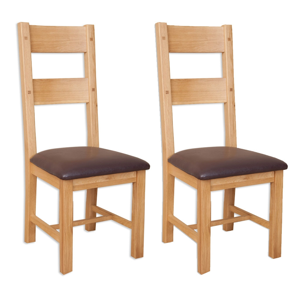 Perth Natural Oak Dining Chair Pair Cfs Furniture Uk - Living Room Chairs Perth