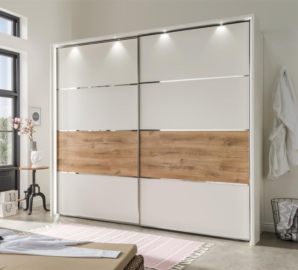 Chambre à Coucher Wiemann Wiemann Alassio 2 Door Sliding Wardrobe In Alpine White And Oak With Led Light And Passepartout W 200cm