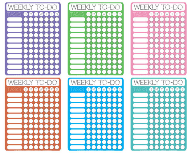 Dotty printable weekly to-do checklists - Free printable downloads