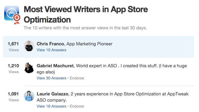 App Store Optimization writers on Quora