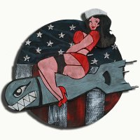 1950's Vintage reclaimed wood Pin Up bomber girl, Wall Art ...