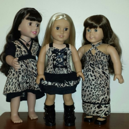 American Girl Dolls wearing Wild Child collection leopard print