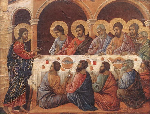 Duccio, Christ and disciples at table