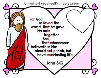 Valentine\u0027s Day Bible Printables - Christian Preschool Printables