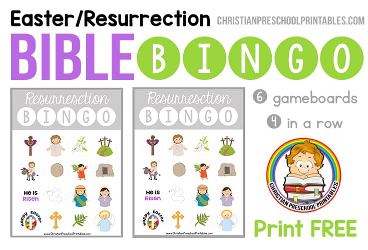 Easter / Resurrection Bible Bingo Game - Christian Preschool Printables - free printable religious easter cards