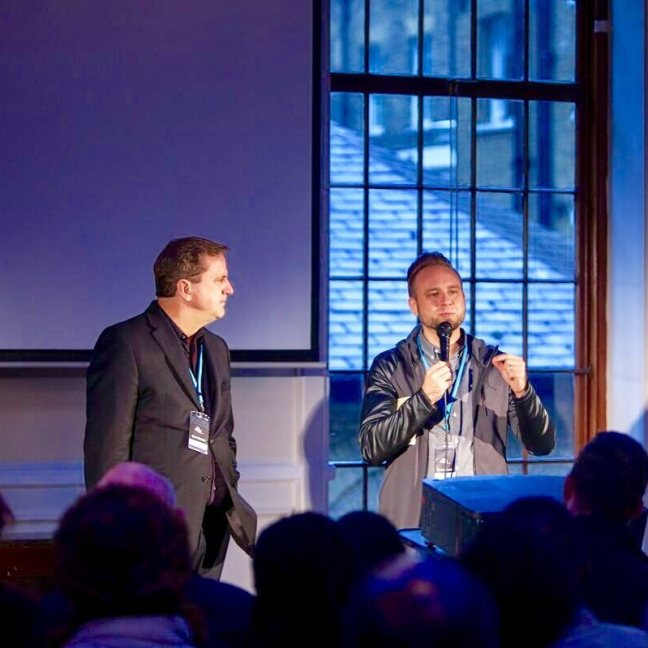 Dr. Jerry Johnston and Jeremiah Johnston at the Brewery UK Premier Digital