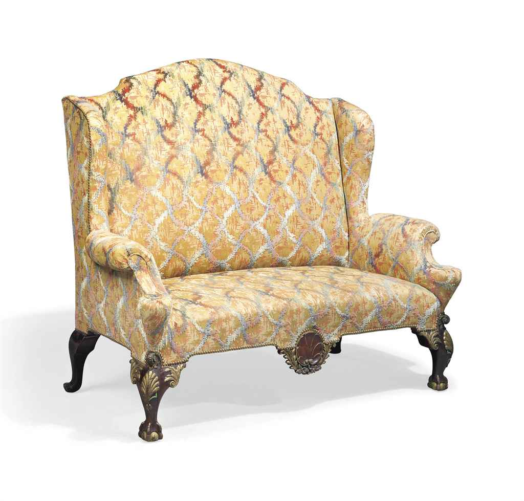 Sofa Queen Anne Style A Mahogany And Parcel Gilt High Back Wing Sofa Of Queen