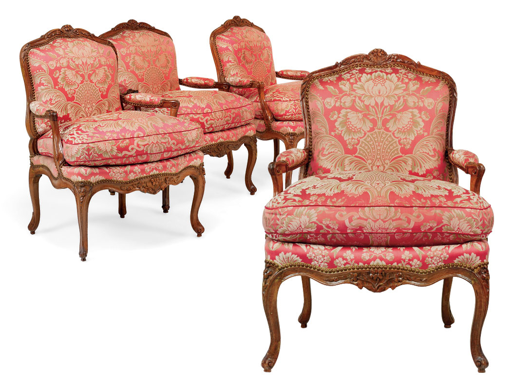 4 Fauteuils Louis Xv A Set Of Four Louis Xv Walnut Fauteuils A La Reine Circa