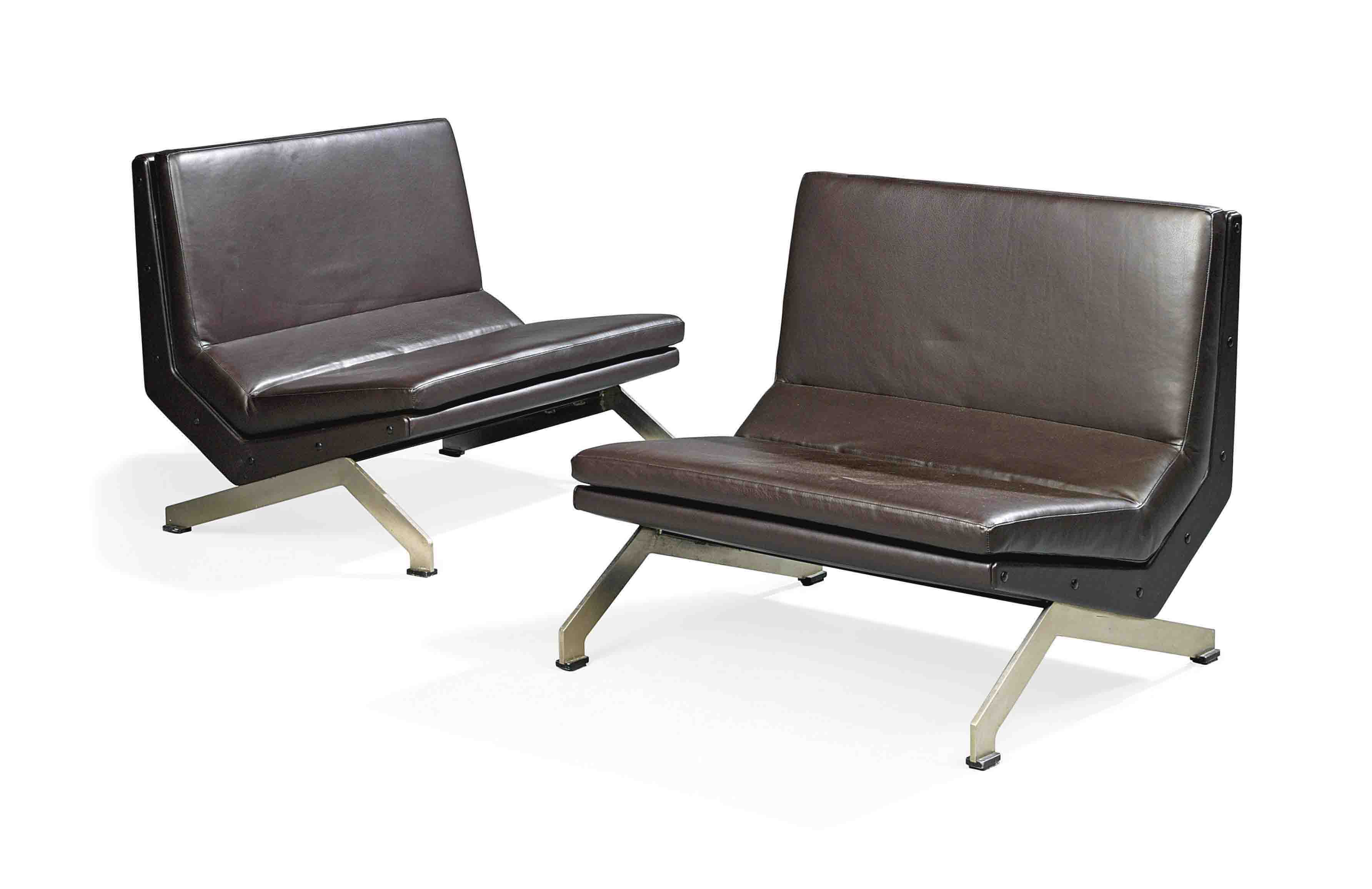 Leather Upholstered Lounge A Pair Of Fornarola Brushed Steel And Leather Upholstered