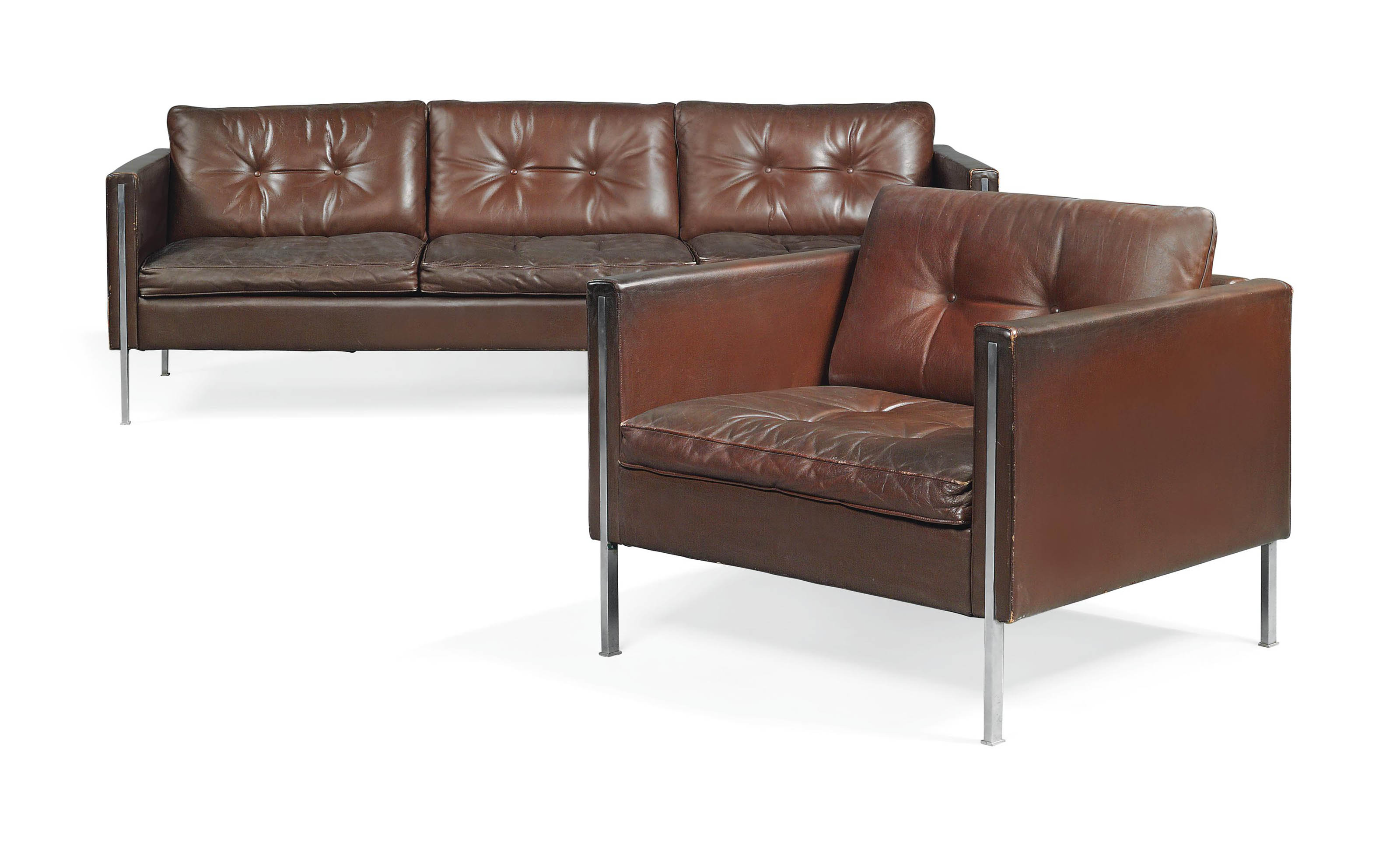 Pierre Paulin Sofa A Pierre Paulin Leather And Stainless Steel 442 Sofa And