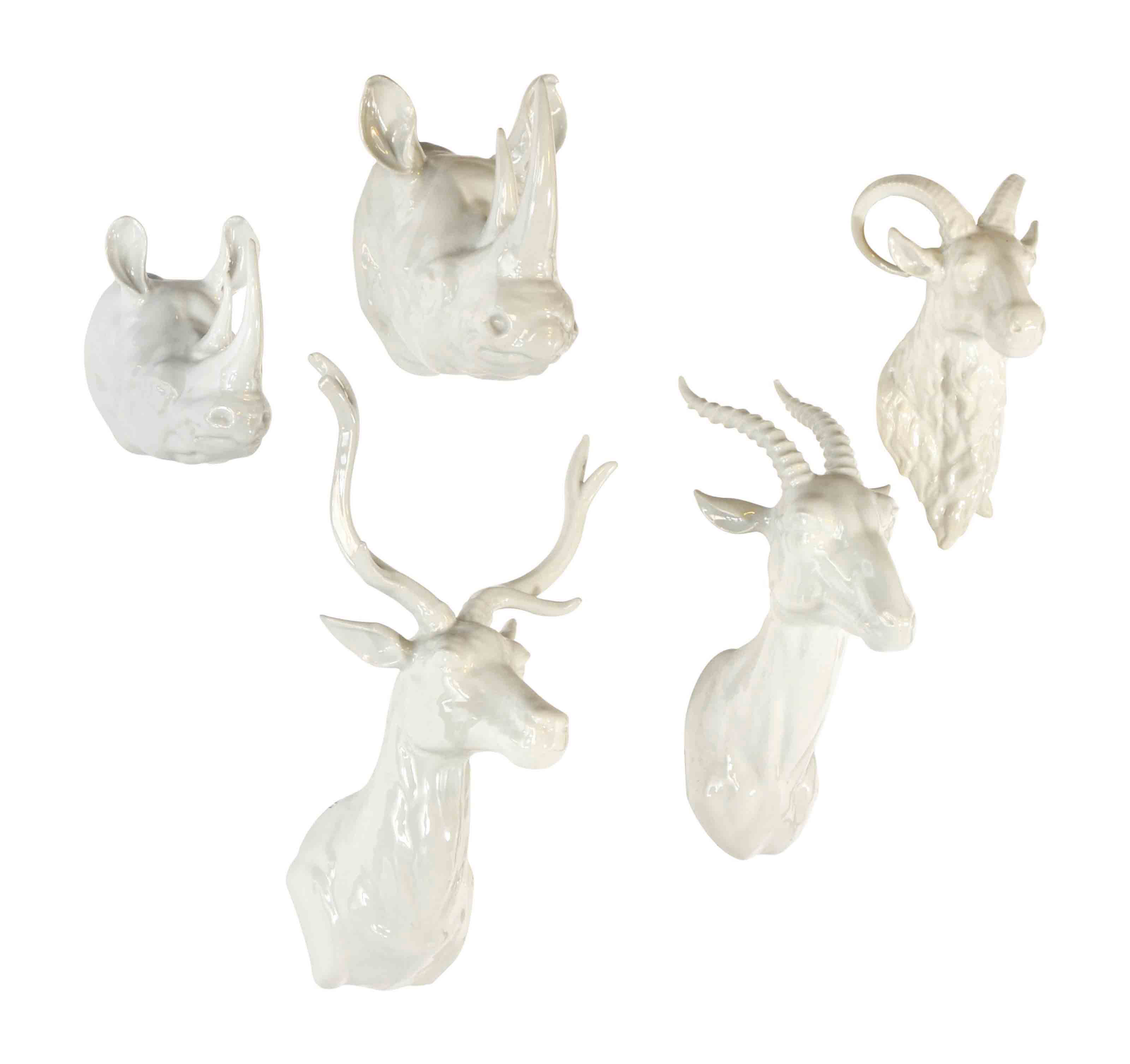 White Porcelain Deer Head Five Continental White Glazed Porcelain Trophy Heads