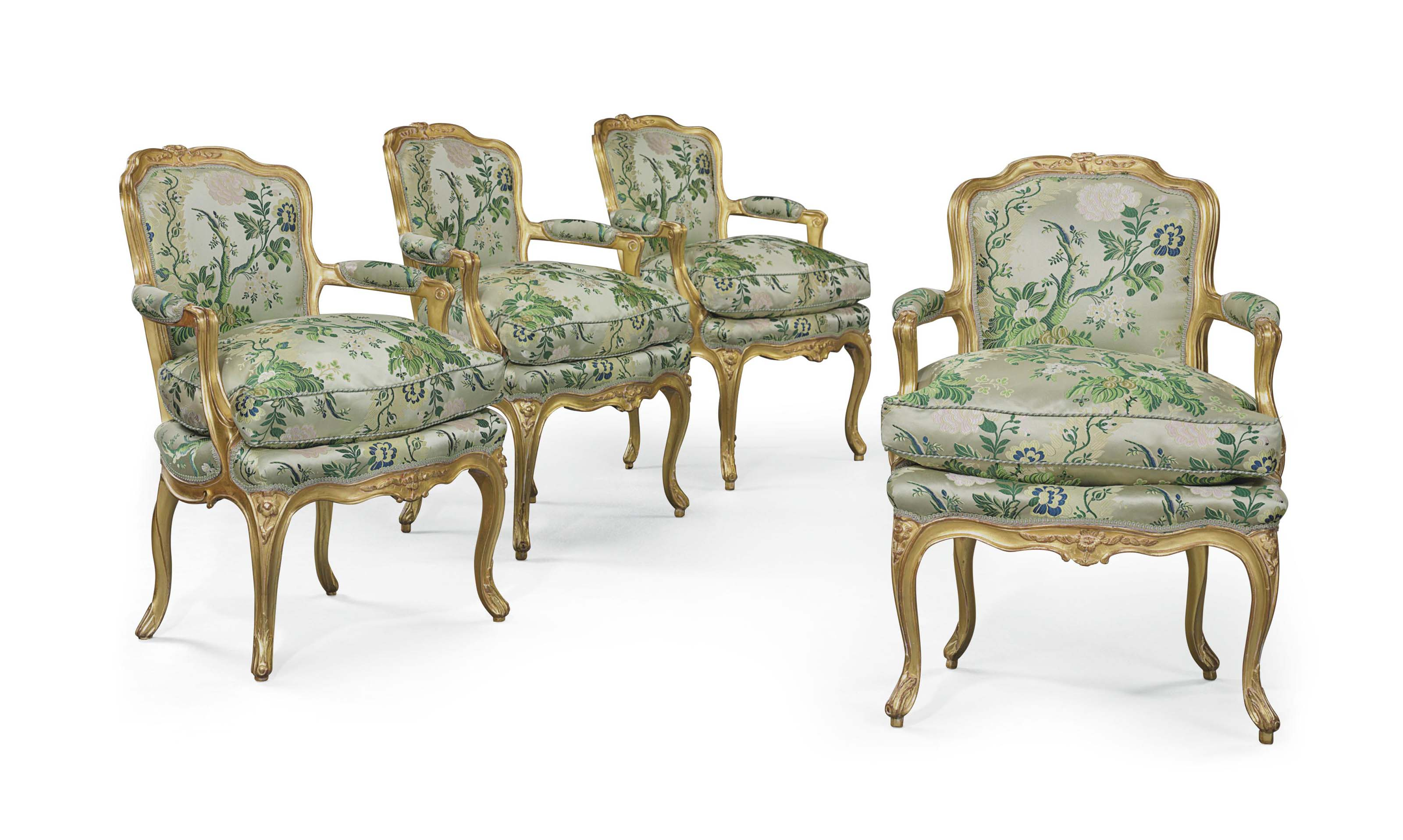4 Fauteuils Louis Xv A Set Of Four Louis Xv Giltwood Fauteuils Circa 1750