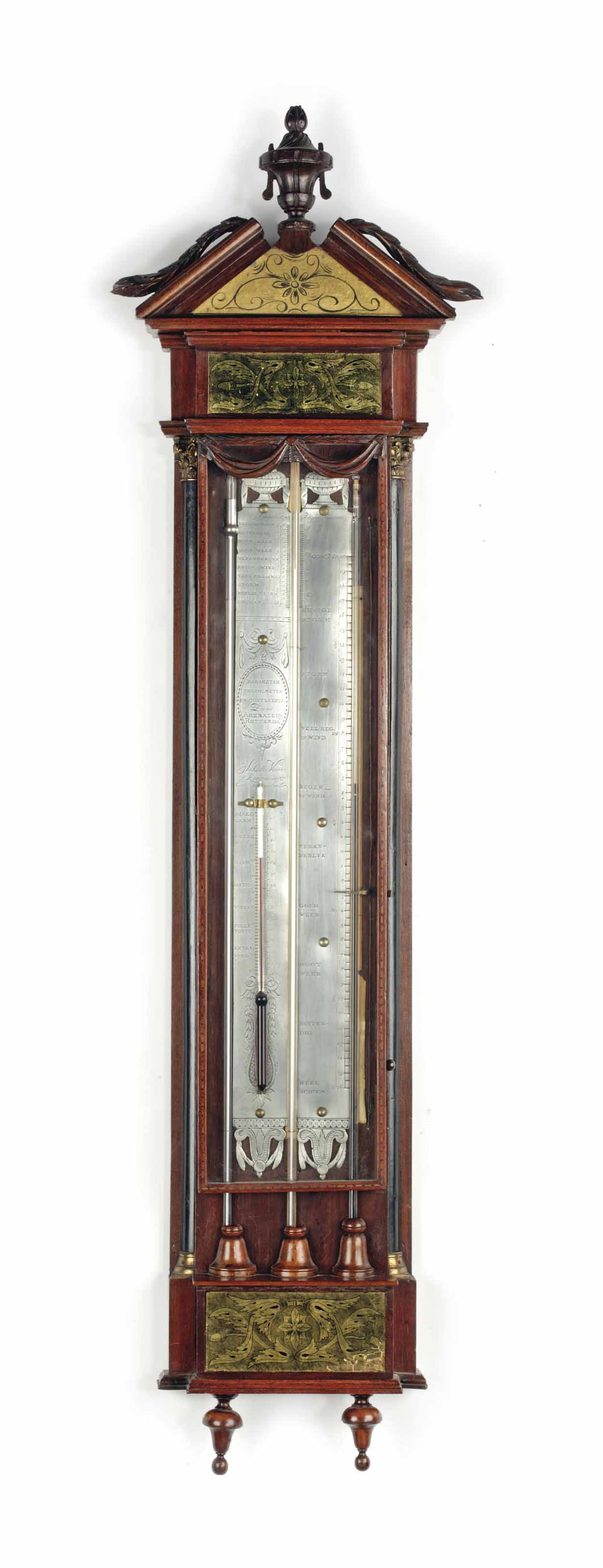 Barometer Oldenburg A Dutch Walnut Cistern Barometer With Verre églomise