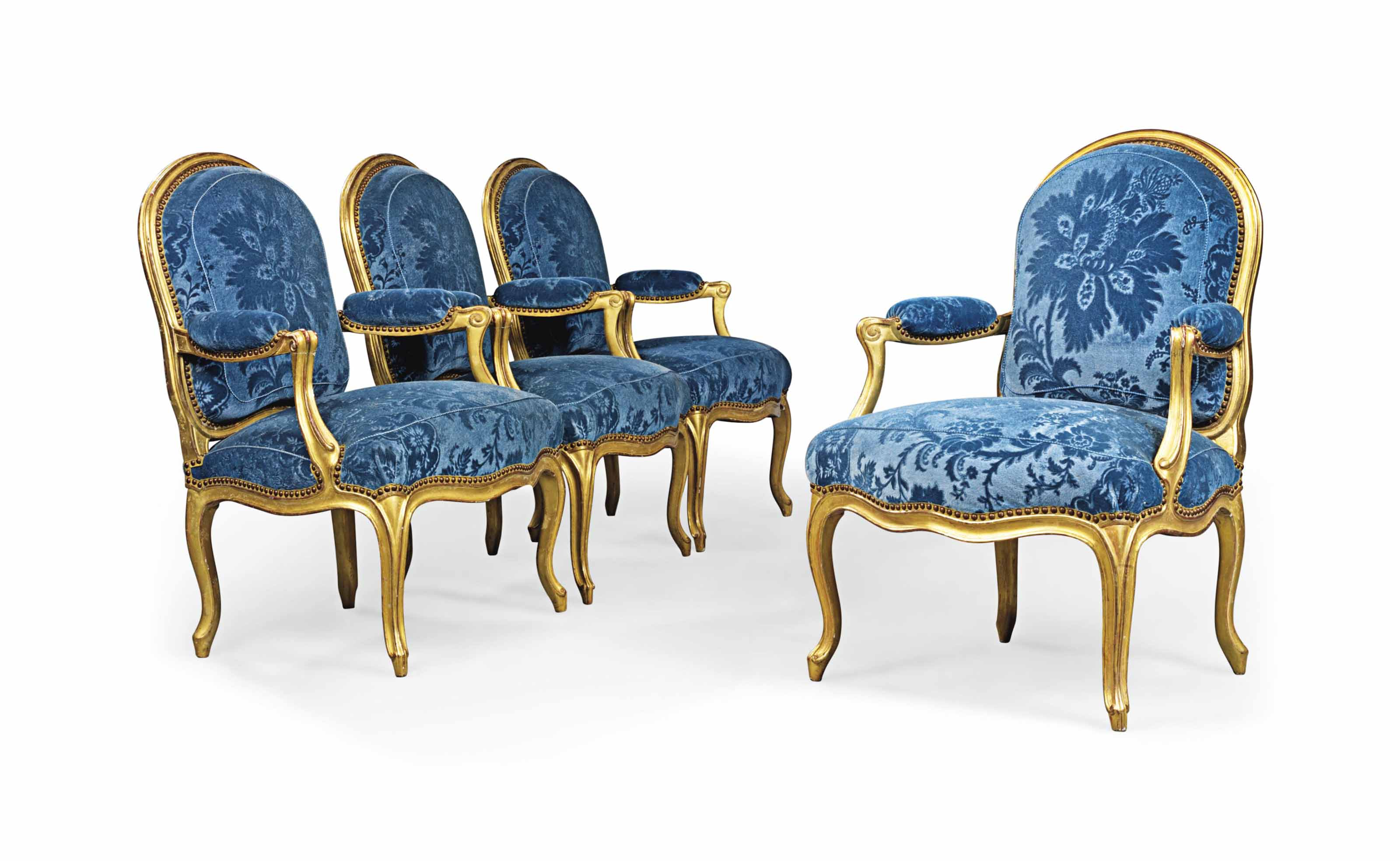 4 Fauteuils Louis Xv A Set Of Four Louis Xv Giltwood Fauteuils By Philippe