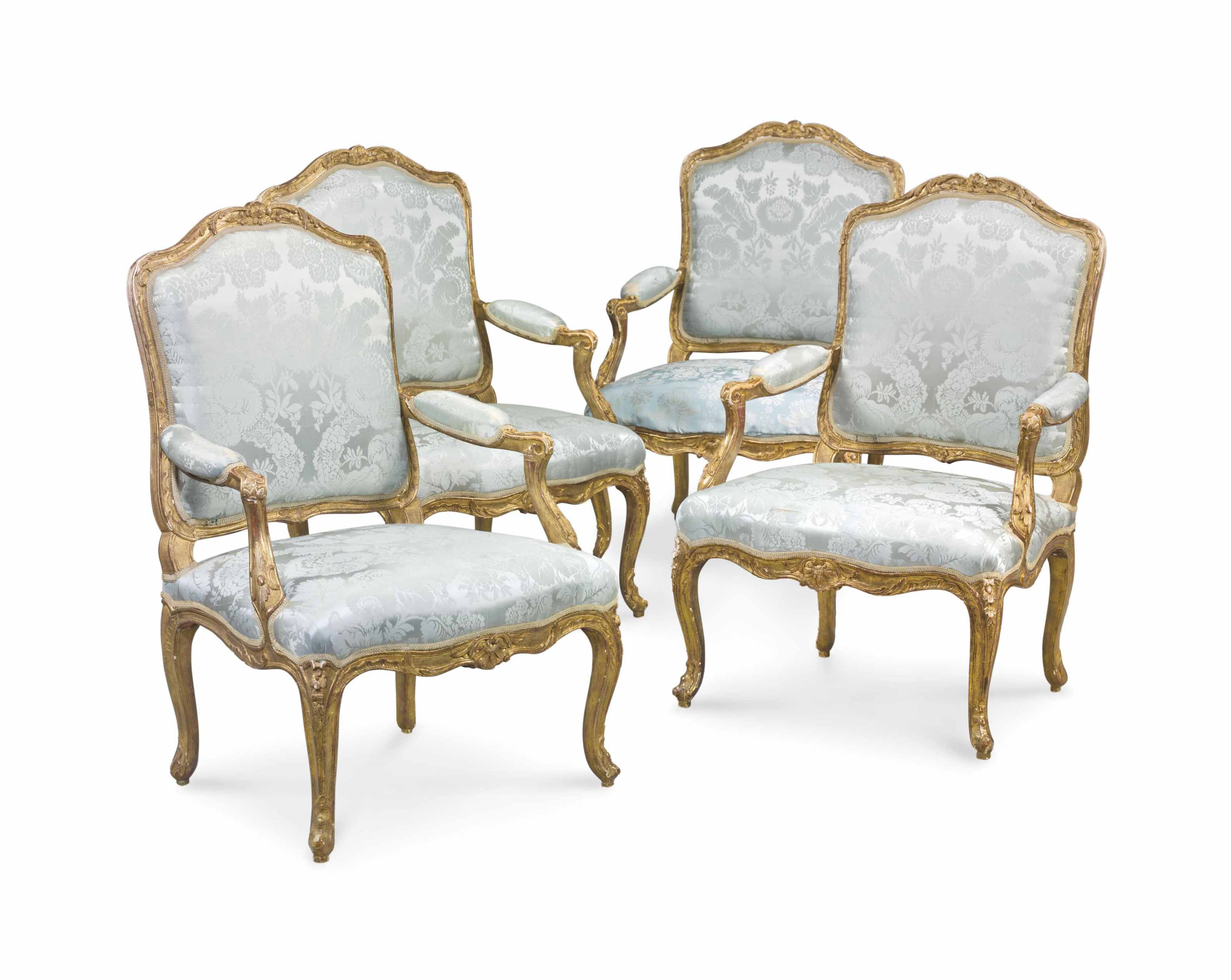 4 Fauteuils Louis Xv A Set Of Four Louis Xv Giltwood Fauteuils A La Reine By