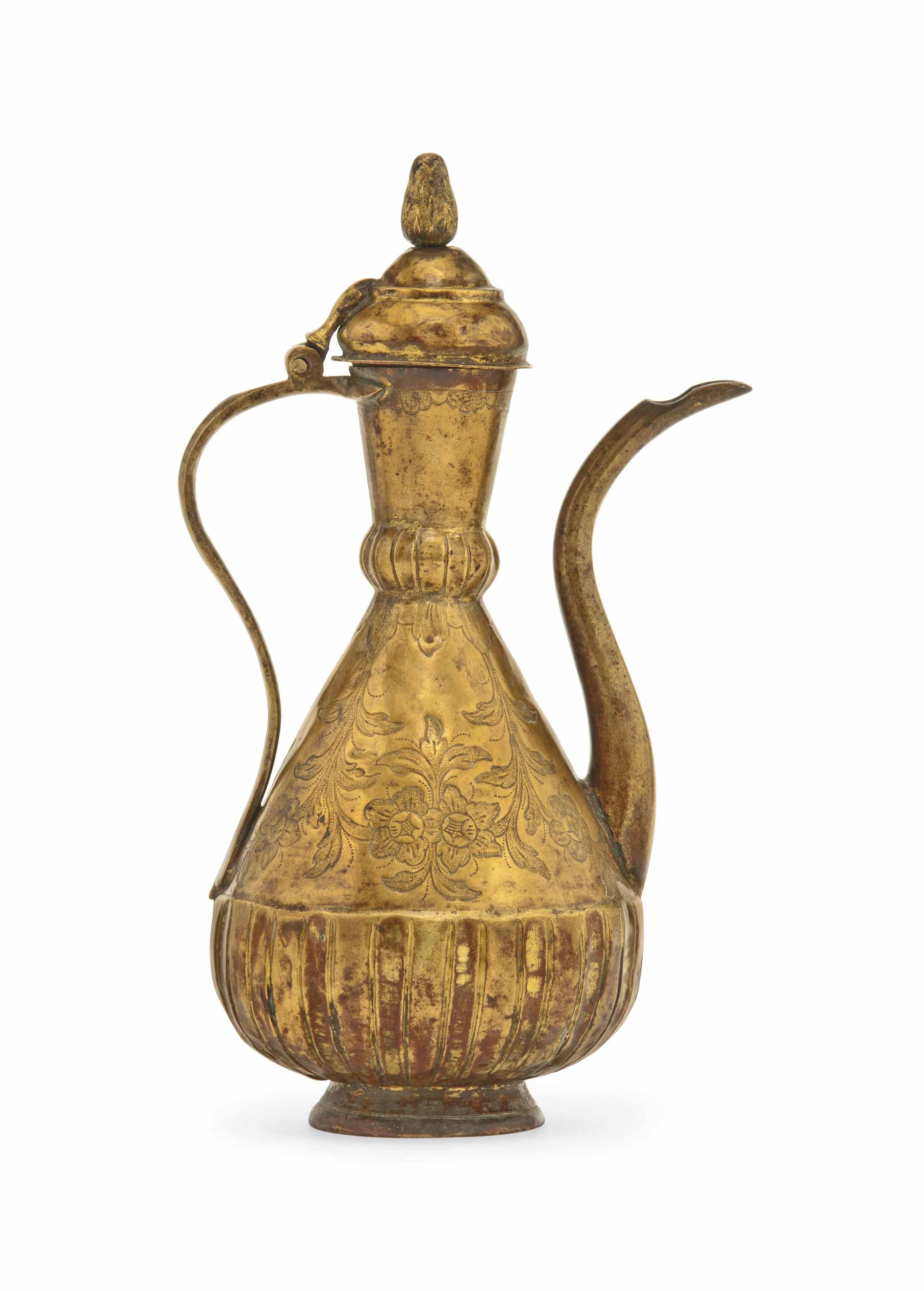 Tombak Metall A Gilt-copper (tombak) Ewer , Ottoman Turkey, Late 18th