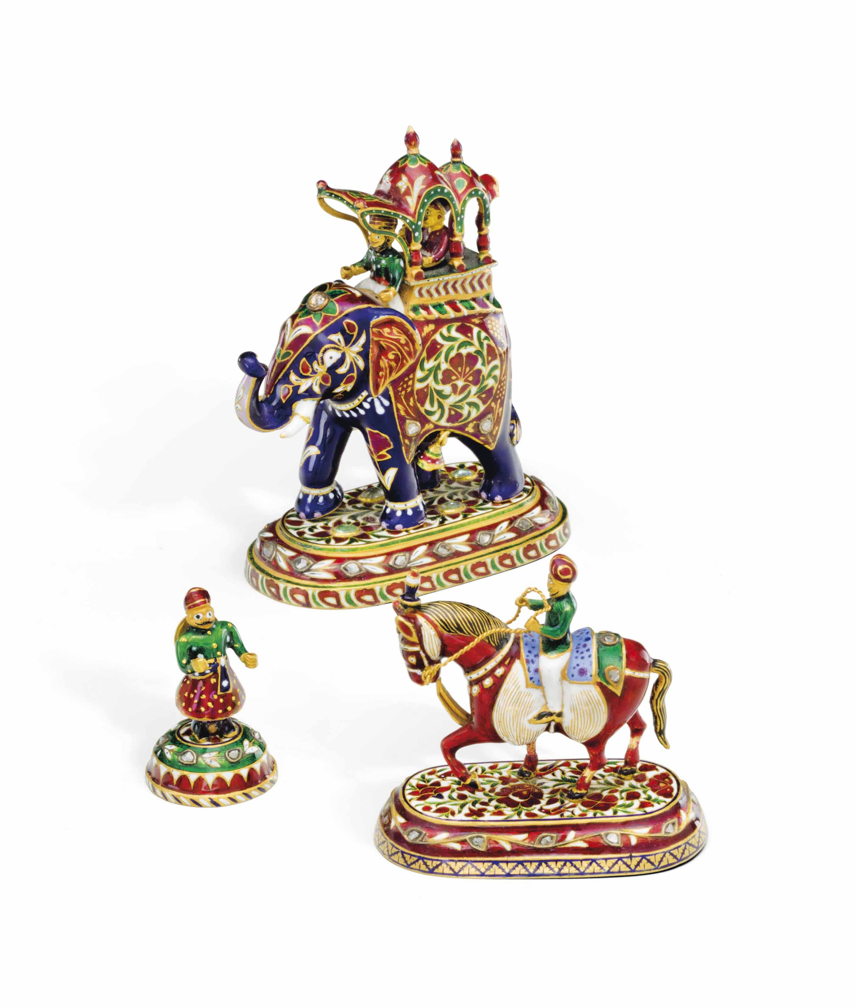 Gold Chess Pieces Three Indian Gold Enamel And Diamond Set Chess Pieces Early