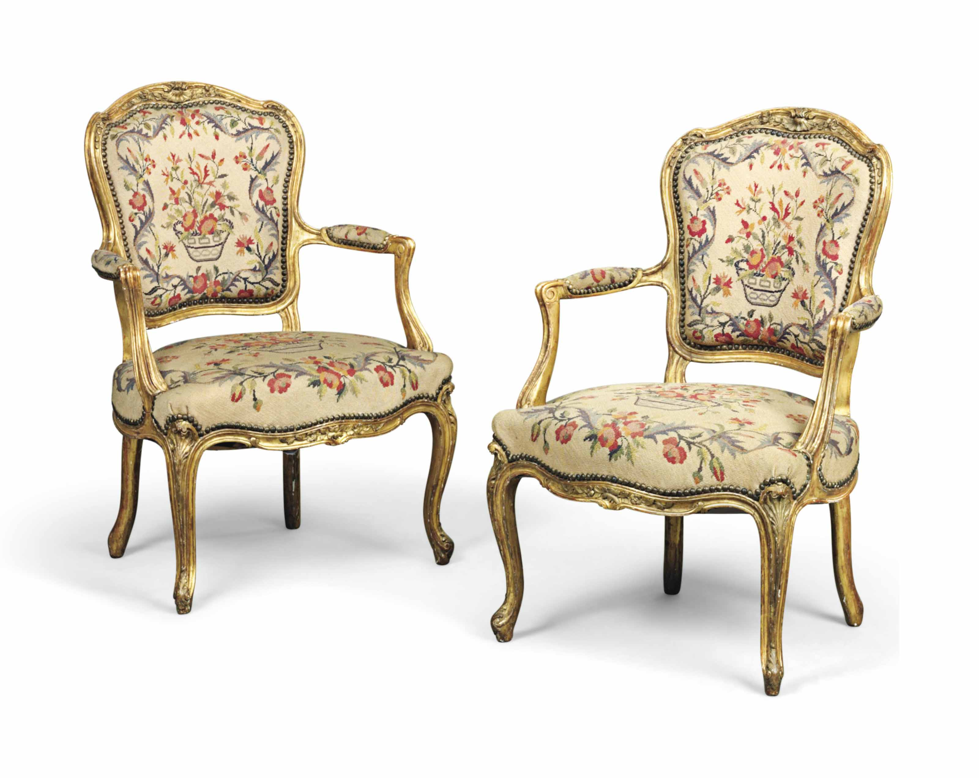 40 Fauteuils A Pair Of French Giltwood Fauteuils Of Louis Xv Style 19th