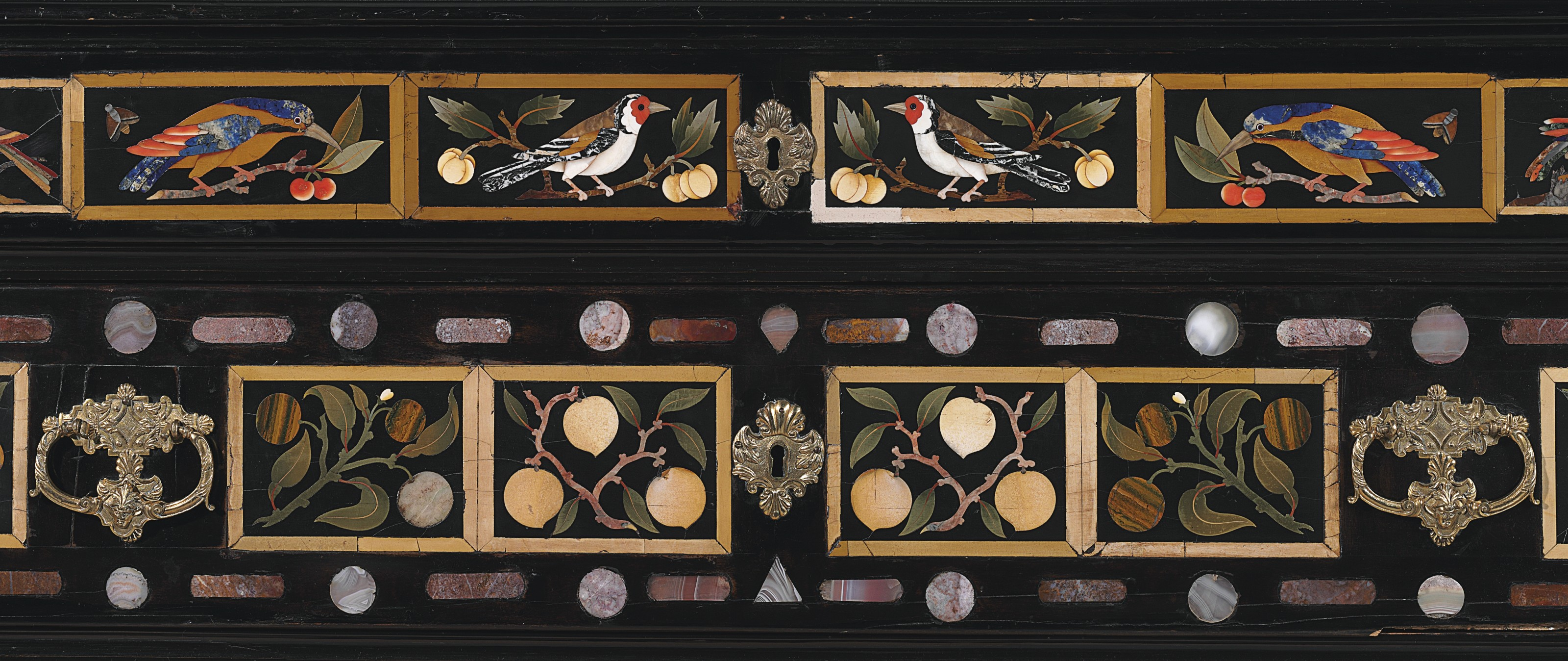 Elements Augsburg A South German Ormolu Mounted Ebony Ebonized And Pietra