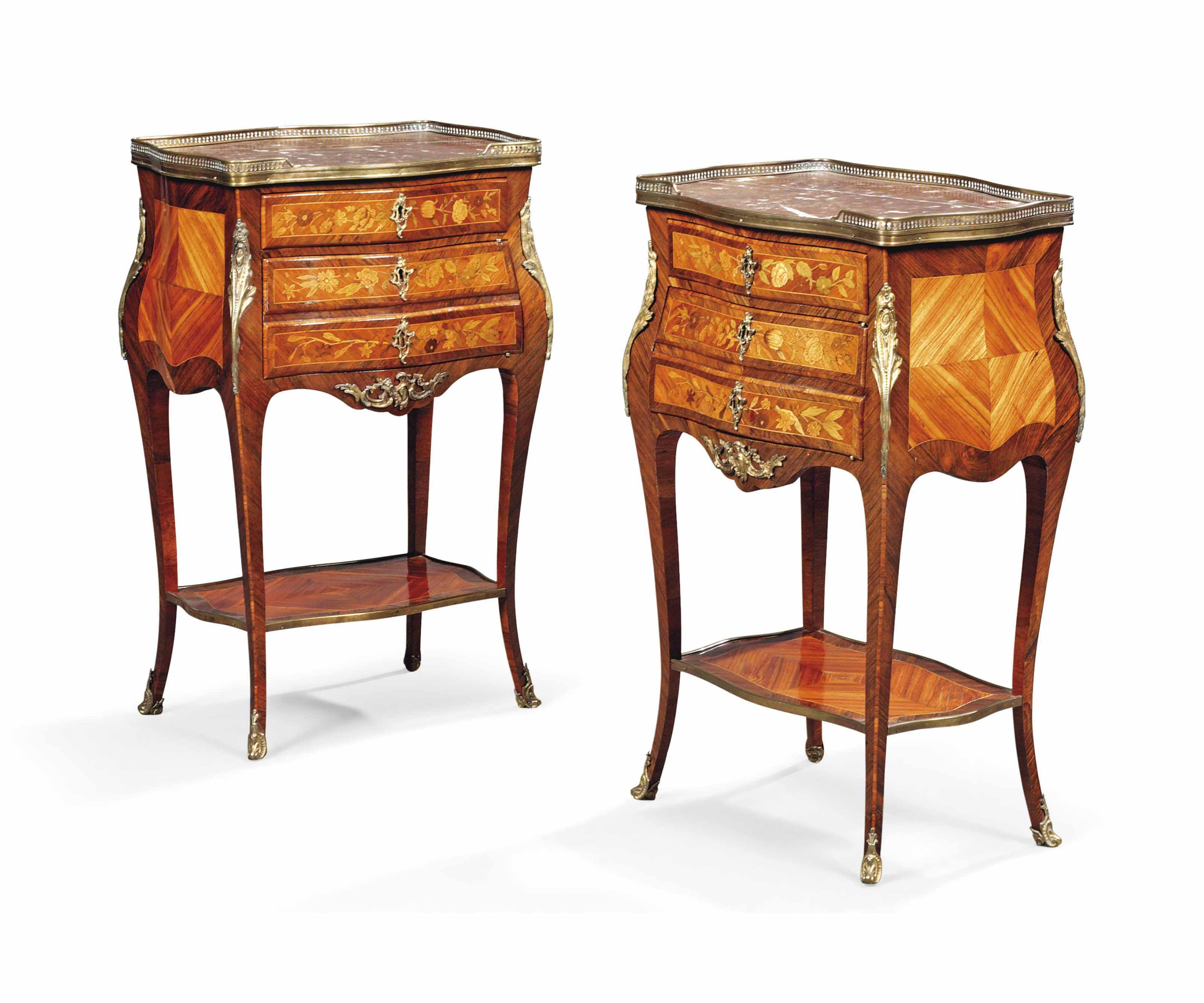 Table De Nuit New York A Pair Of French Ormolu Mounted Kingwood Tulipwood And