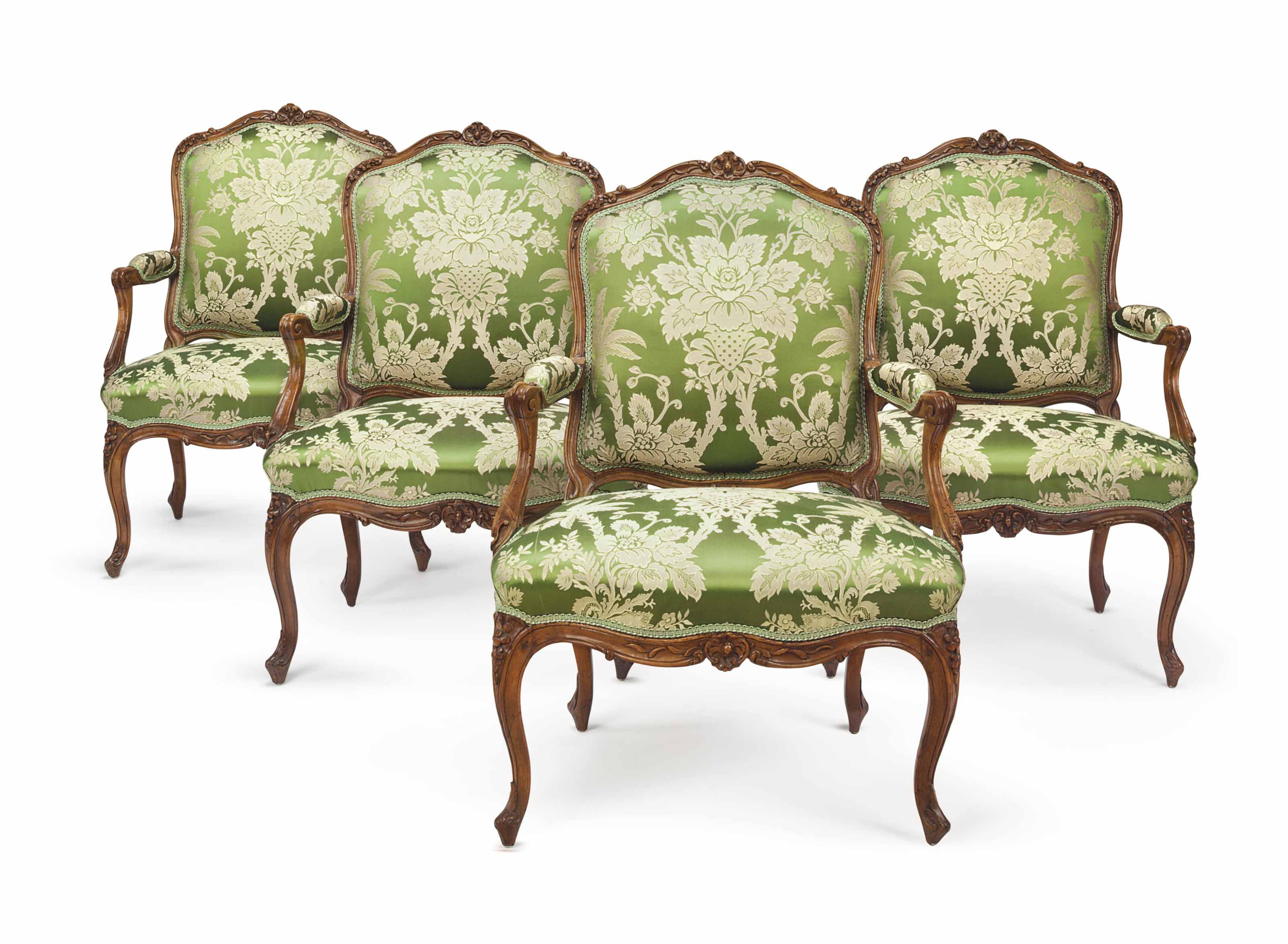 4 Fauteuils Louis Xv A Set Of Four Louis Xv Walnut Fauteuils By Louis Cresson