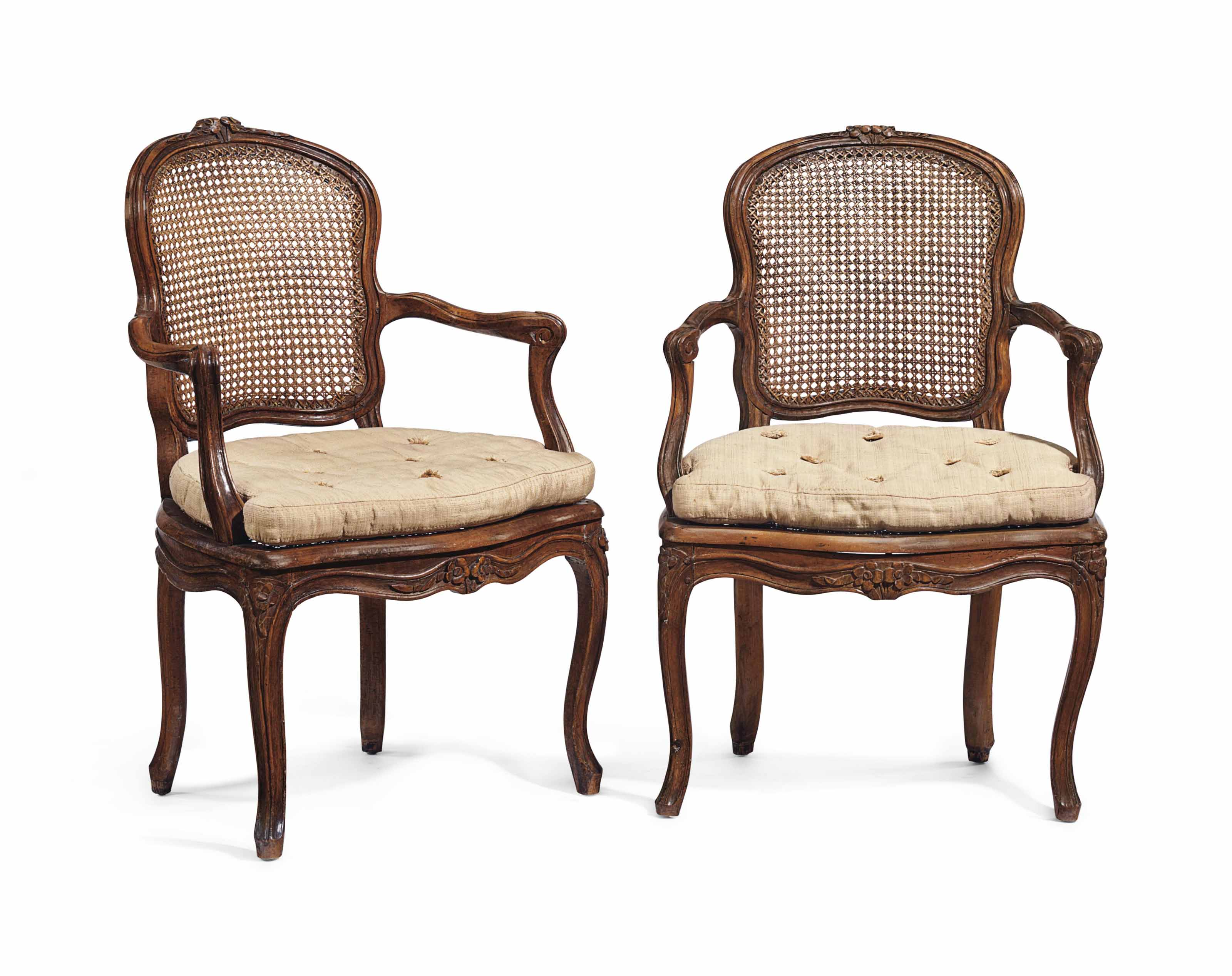 4 Fauteuils Louis Xv A Pair Of Louis Xv Beechwood And Caned Fauteuils By