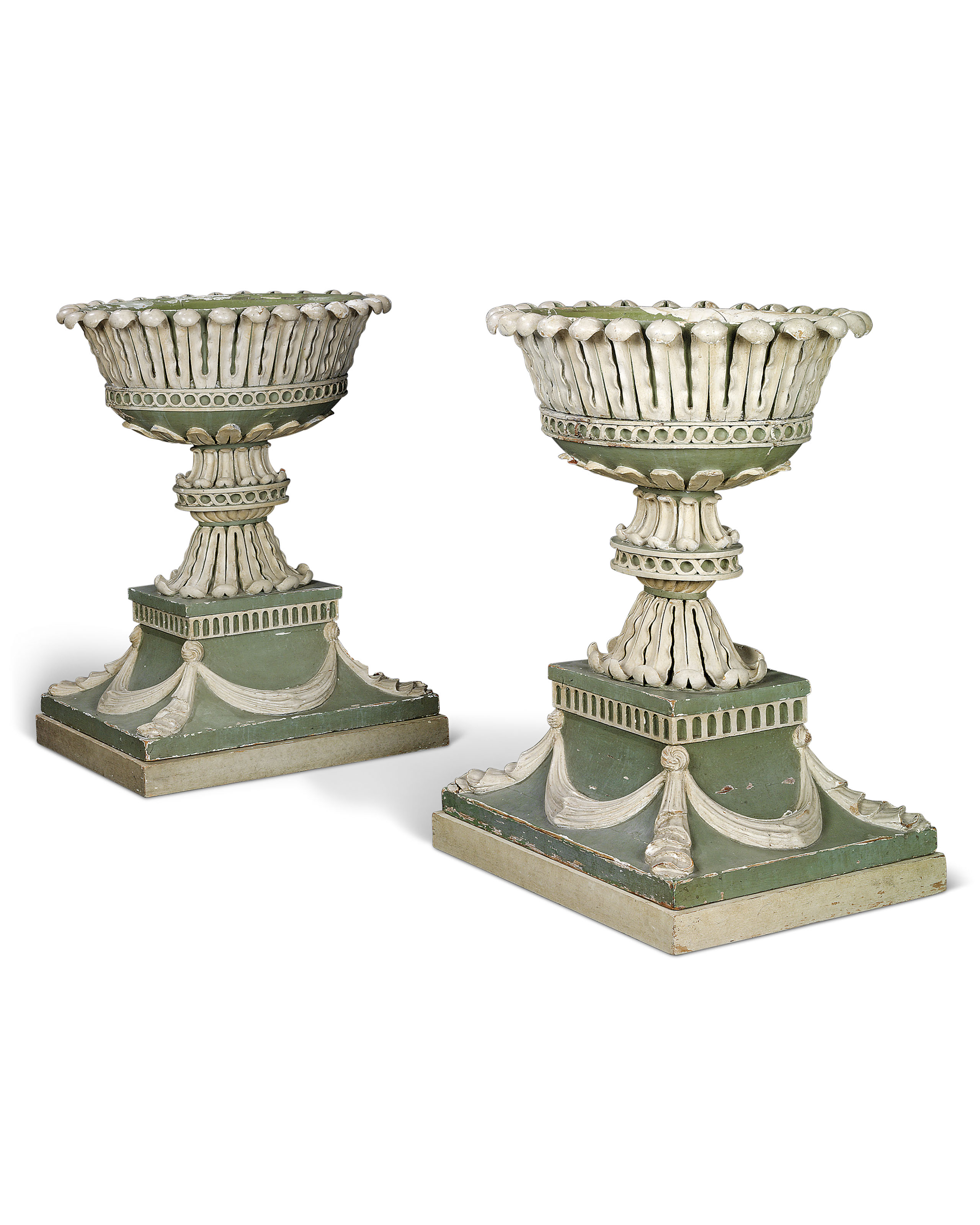 White Pedestal Plant Stands A Pair Of George Iii Green And White Painted Flower Stands