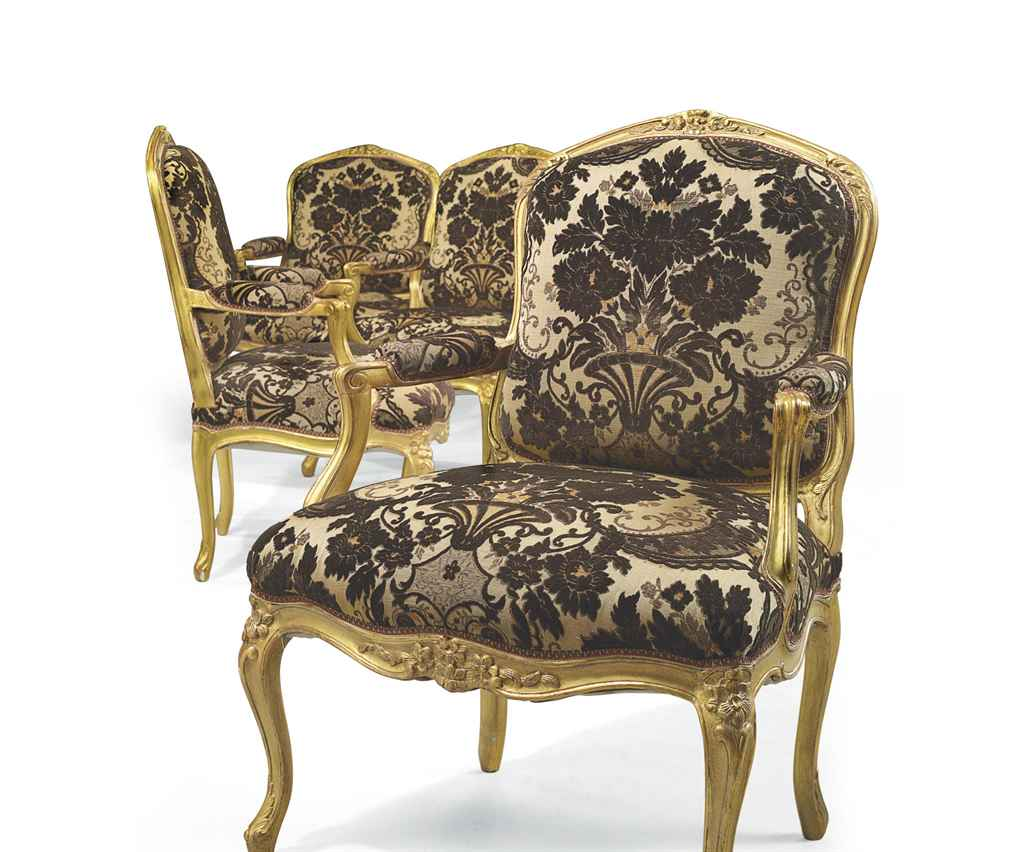 4 Fauteuils Louis Xv A Set Of Four Louis Xv Giltwood Fauteuils A La Reine