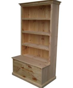 6x3 Deluxe Bookcase Raw with Toy Box