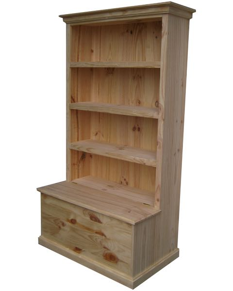 6×3 Deluxe Bookcase Raw with Toy Box