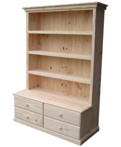 6x4 Deluxe Bookcase Raw 4 Drawers