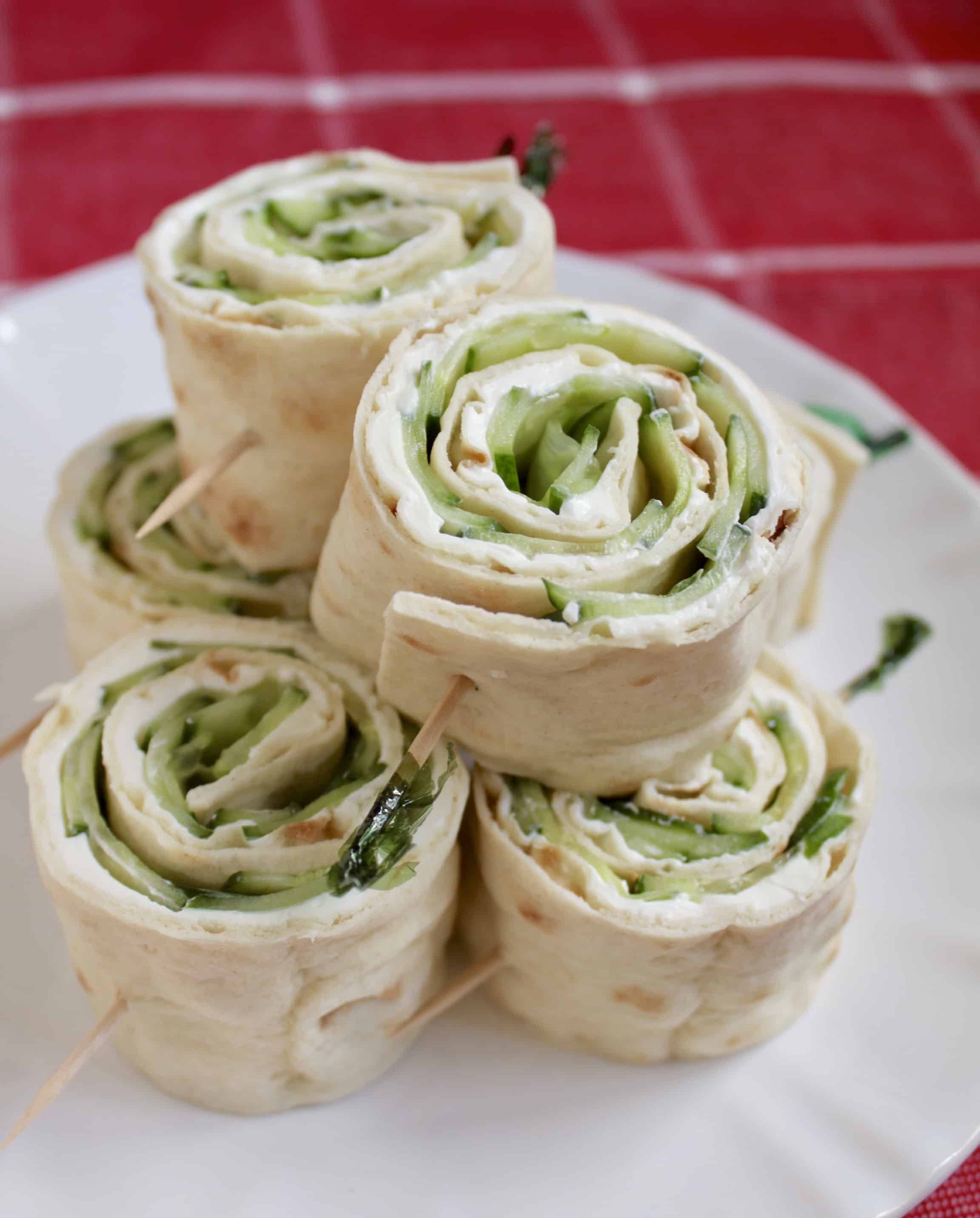 Canapés Wraps Cucumber And Cream Cheese Sandwich Rolls With Lavash Bread