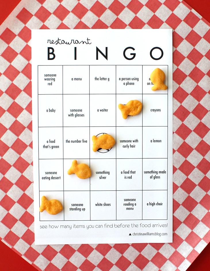 Restaurant Bingo Printable \u2022 Christina Williams