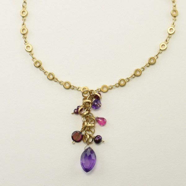 Multi Berry Gemstones Necklace in Matte Gold