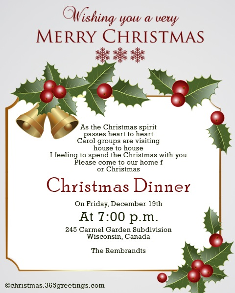 Christmas Invitation Template And Wording Ideas - Christmas