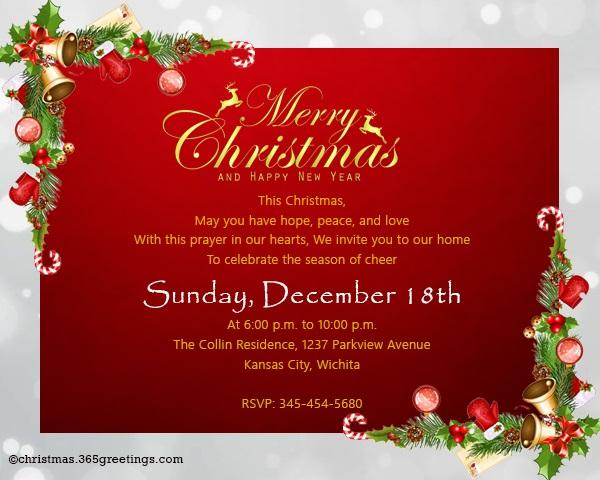 Christmas Invitation Template And Wording Ideas - Christmas