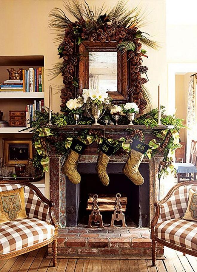 Mantle-Decor-For-Rustic-Christmas - Christmas Celebrations - christmas mantel decor