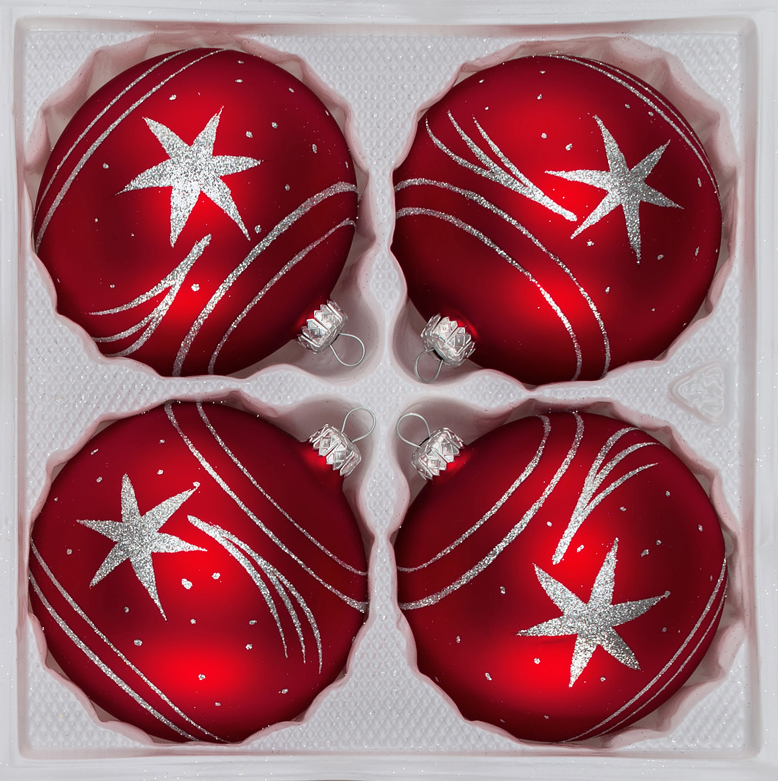 Christbaumkugeln Glas Rot 4 Pcs Christmas Baubles Set 12cm Ø In