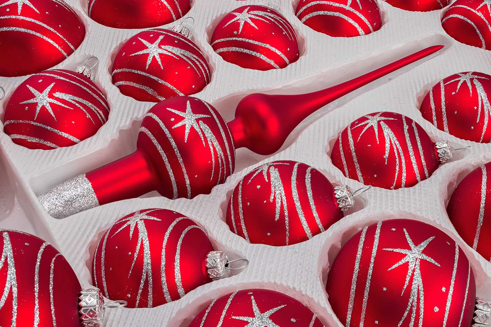 Christbaumkugeln Glas Rot 39 Pcs Christmas Baubles Set In
