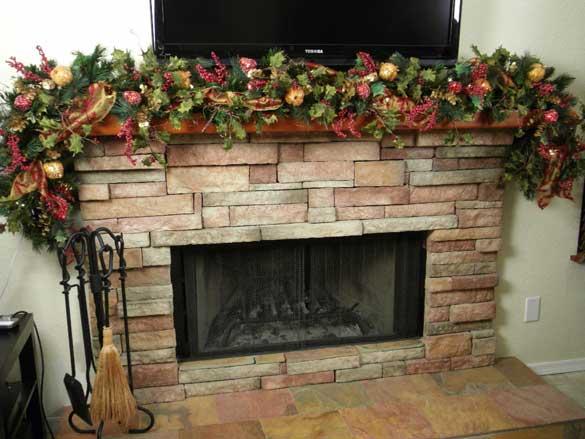 Fireplace Mantel Christmas Decorations Ideas u2013 use of fruit stems - christmas decorations for mantels