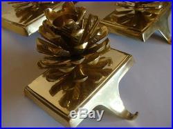 Set 5 Brass Christmas Stocking Holders Hooks Hangers